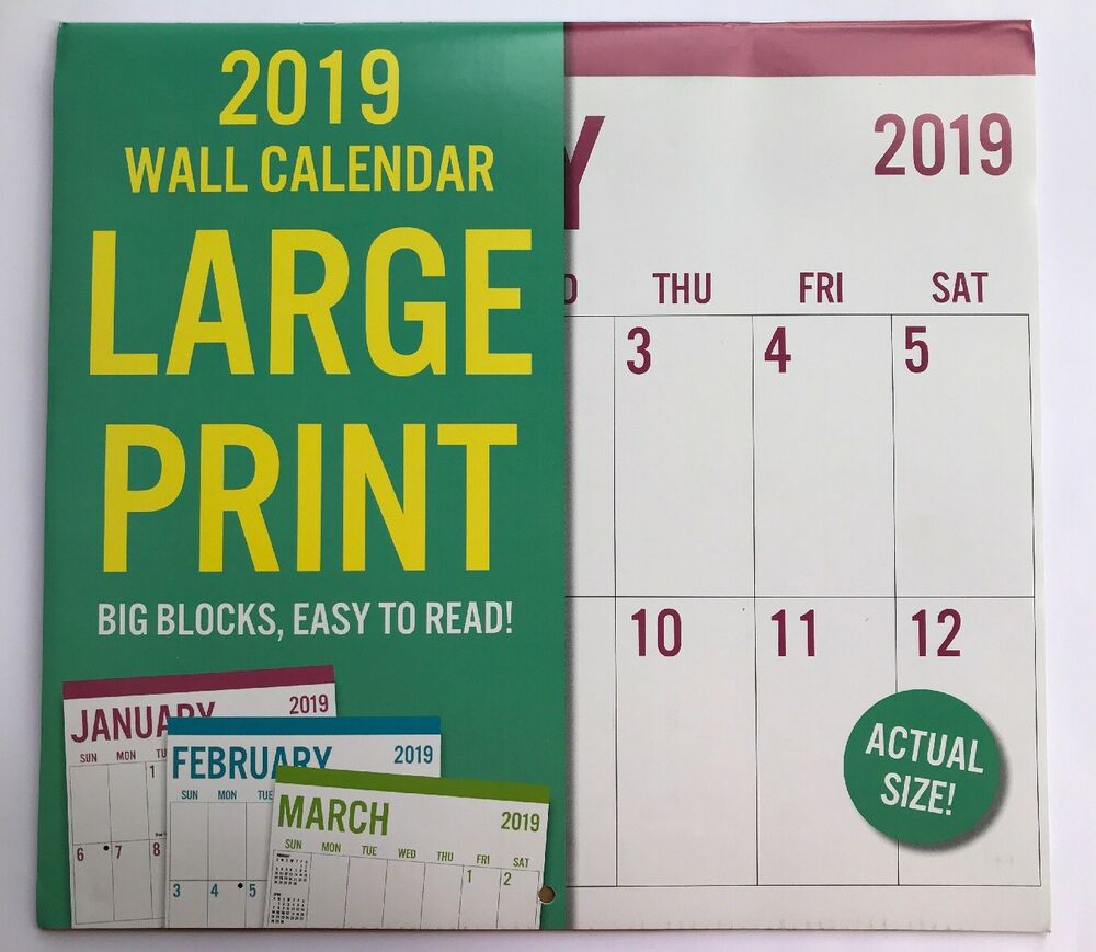New 2019 Wall Calendar Appointment Planner Large Print Big Block