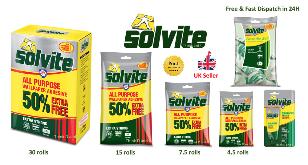 Solvite All Purpose Extra Strong Wallpaper Adhesive Quick ...