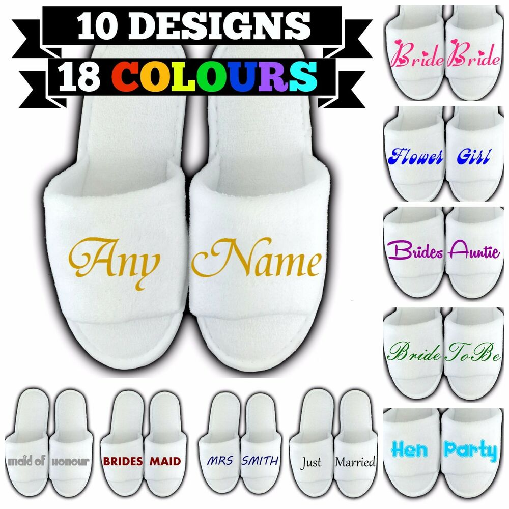 1e26909b8 Details about PERSONALISED SPA SLIPPERS OPEN TOE ANY NAME MESSAGE GIFT  WEDDING GUEST NOVELTY