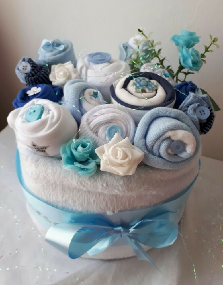 Twins Baby Boys Nappy Cake Clothing Bouquet Baby Shower Gift Blue