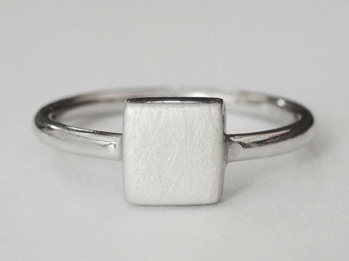925 Sterling Silver Geometric Square Ring Women Girl