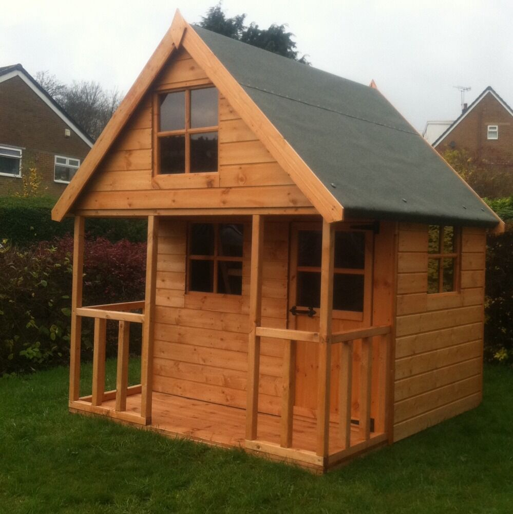 Childrens Wooden Play House 6x6 Mini Chateau Timber Two ...