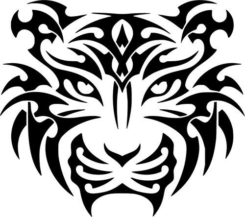 Tiger Head Tribal Tattoo Art Car Wall Laptop Bike Window