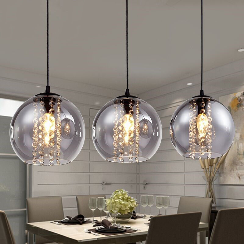 Modern Glass Beads Ball Crystal Ceiling Light Kitchen Bar