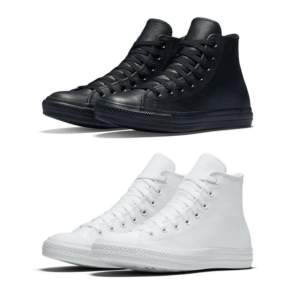3d7b03b21e8c Details about New Converse Chuck Taylor All Star Leather High Top Men Shoes  Black White NIB