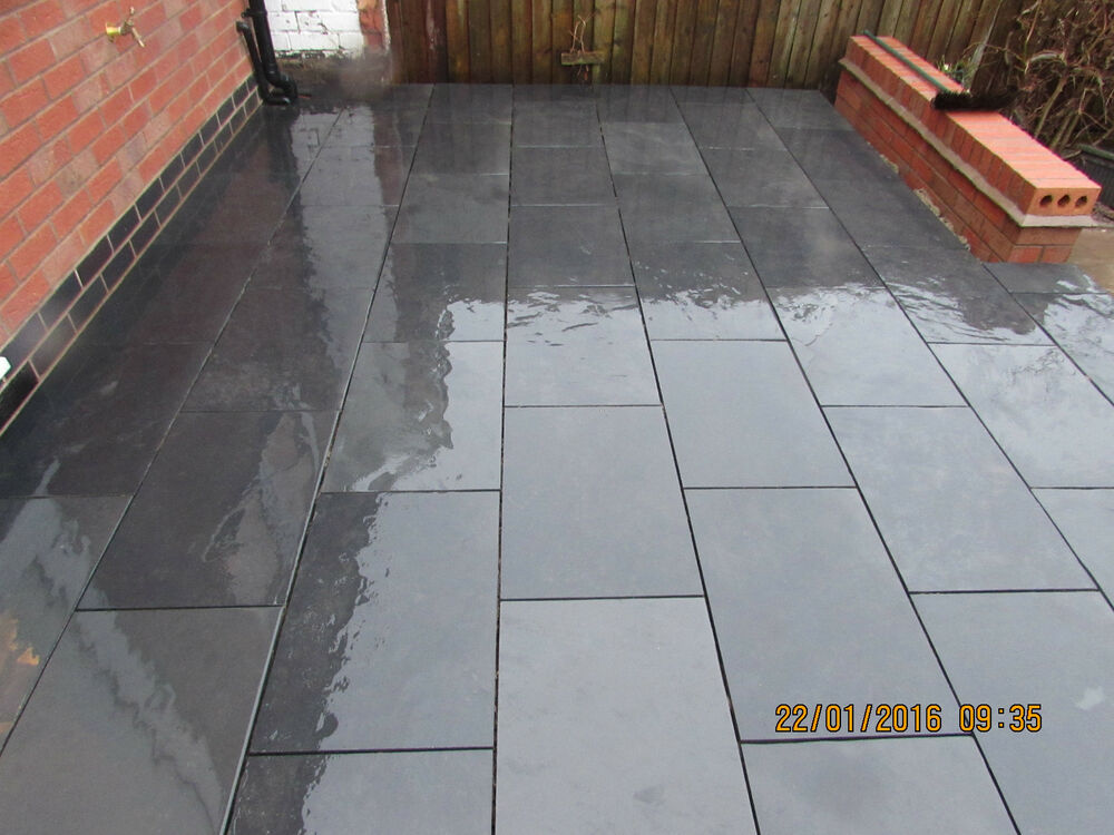 slate paving slabs patio floor tiles black 100x100 sample. Black Bedroom Furniture Sets. Home Design Ideas