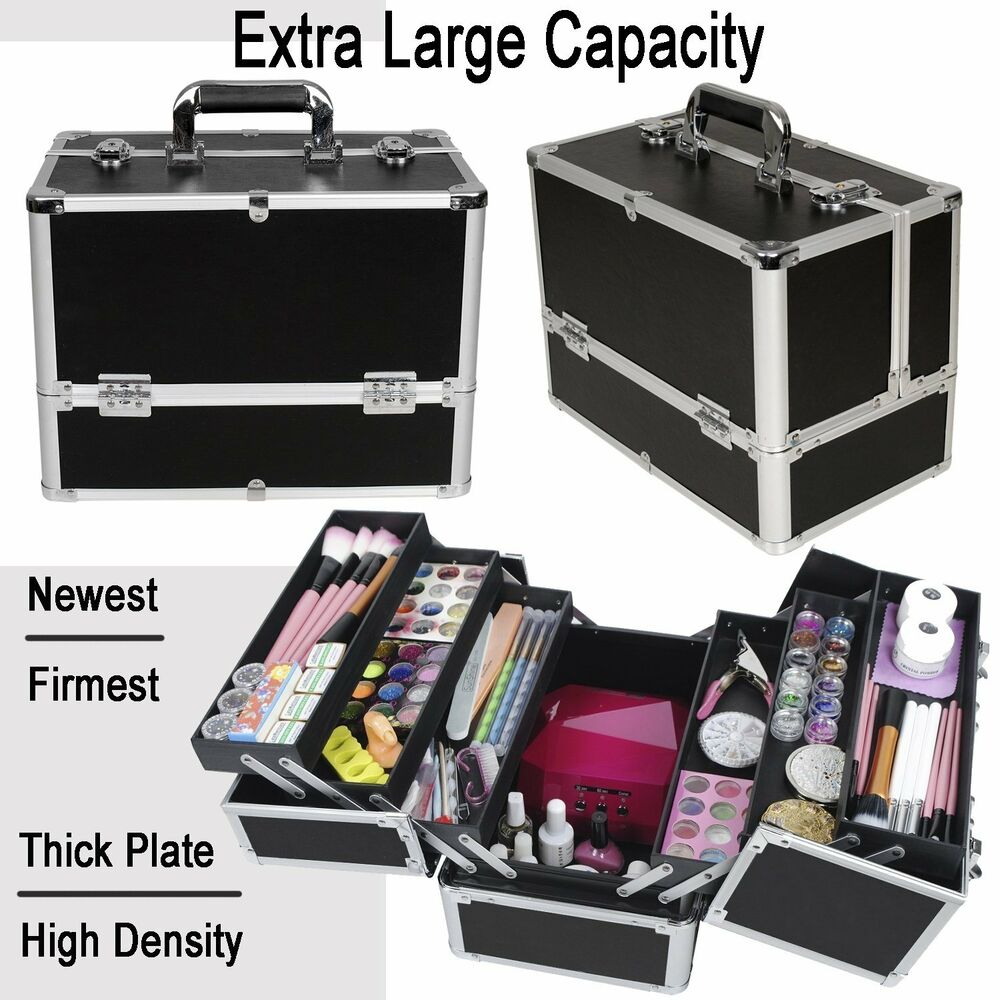 extra large beauty make up nail tech cosmetics storage box vanity train case ebay. Black Bedroom Furniture Sets. Home Design Ideas