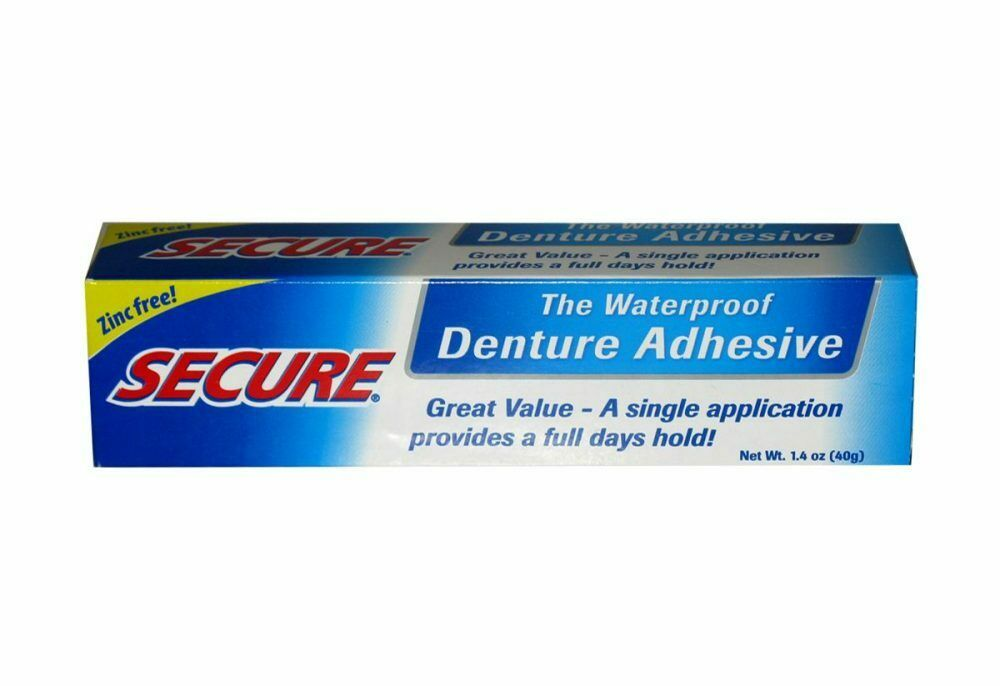 Secure Denture Adhesive Waterproof Zinc Free 1 4 Oz