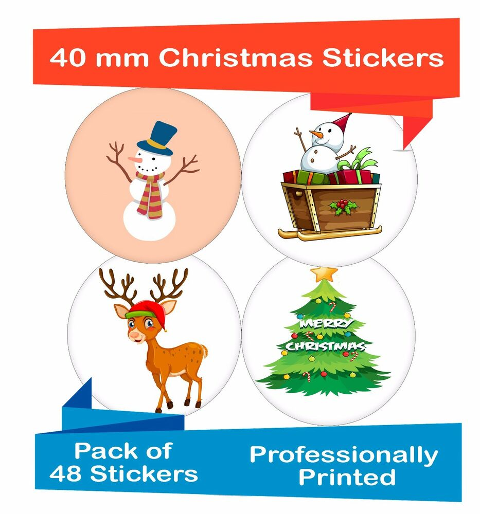 48-Pack 40 mm xmas card making stickers / Christmas sheet craft ...