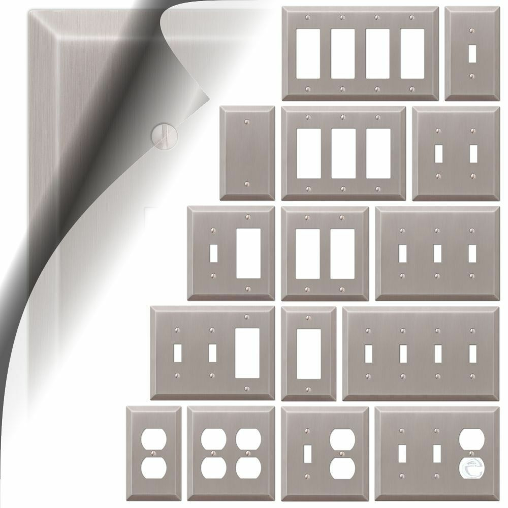 Switch Plate Cover Century Brushed Nickel Metal Wallplate Toggle