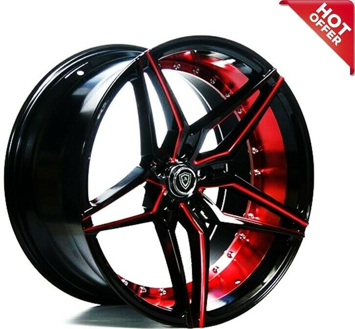 22 Quot Mq 3259 Wheels Black With Red Inner Fit Cadillac Cts