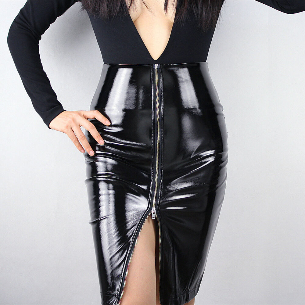 latex pencil skirt shine patent leather black high rise split zipper vinyl pvc ebay. Black Bedroom Furniture Sets. Home Design Ideas