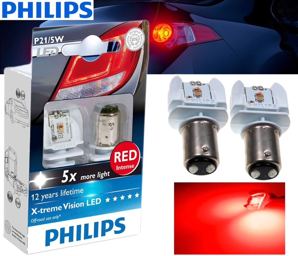 philips p21 5w led xtreme vision red brake and tail. Black Bedroom Furniture Sets. Home Design Ideas