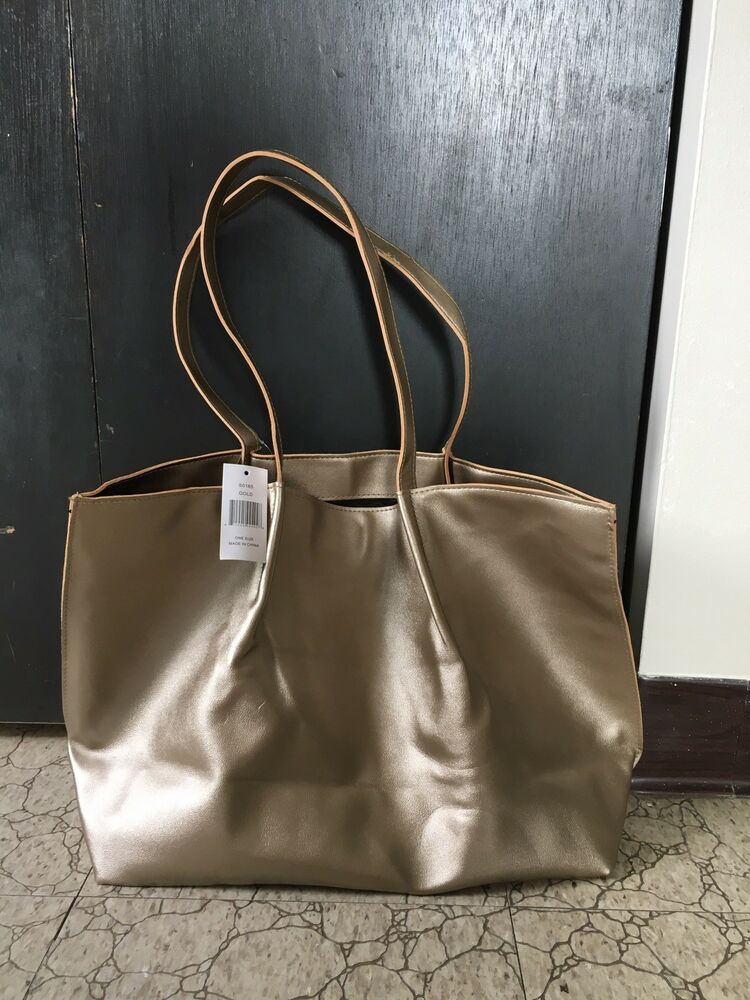 554e4a06a07e Details about BRAND NEW Saks Fifth Avenue tote bag in gold