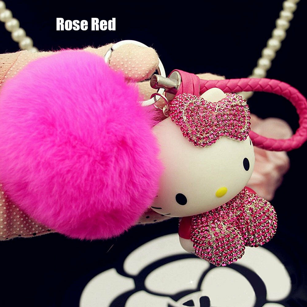 f1cfccdfc7 Lovely Hello Kitty Keychain Crystal Pink Ring Purse Clipper Kids Gift Plush