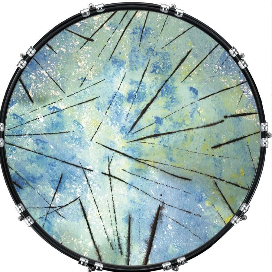 custom 22 aquarian kick bass drum head graphical front skin abstract 4 ebay. Black Bedroom Furniture Sets. Home Design Ideas