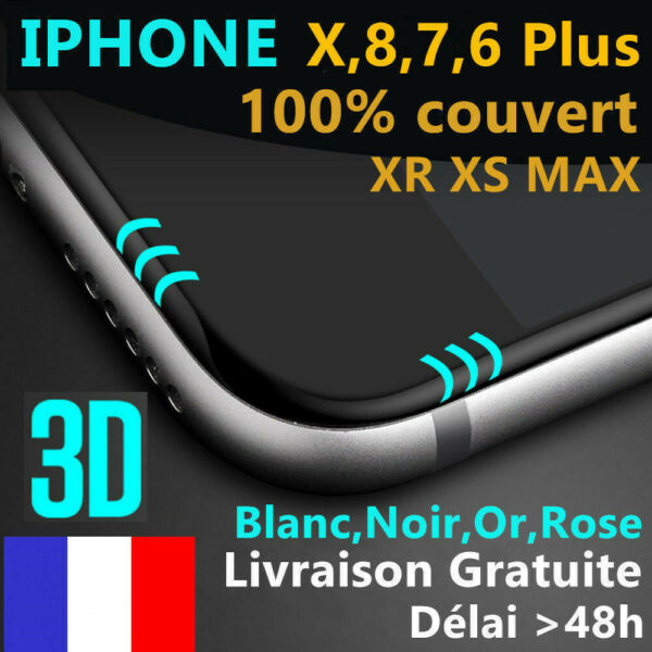 VITRE VERRE TREMPE 3d Film protection écran tactile iPhone X/S/MAX/8/7/6/Plus XR