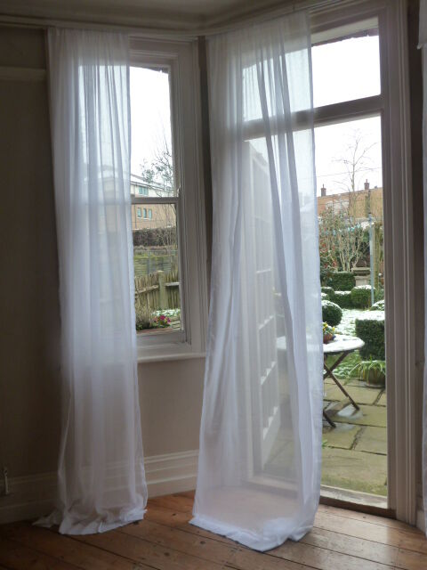 Muslin Voile Curtains 100% Cotton 128cm Wide X Any Length FROM £10.99