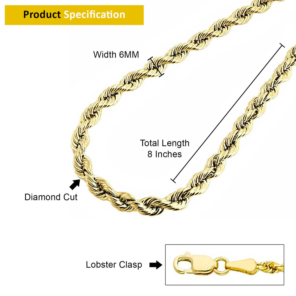 """Mens 10K Yellow Gold Diamond Cut 6mm Rope Chain Bracelet Lobster Clasp 8"""" Inches 