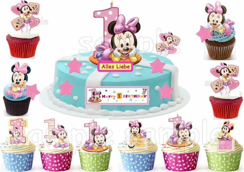 minnie maus e bar tortenaufleger neu party deko muffinaufleger 1 geburtstag ebay. Black Bedroom Furniture Sets. Home Design Ideas