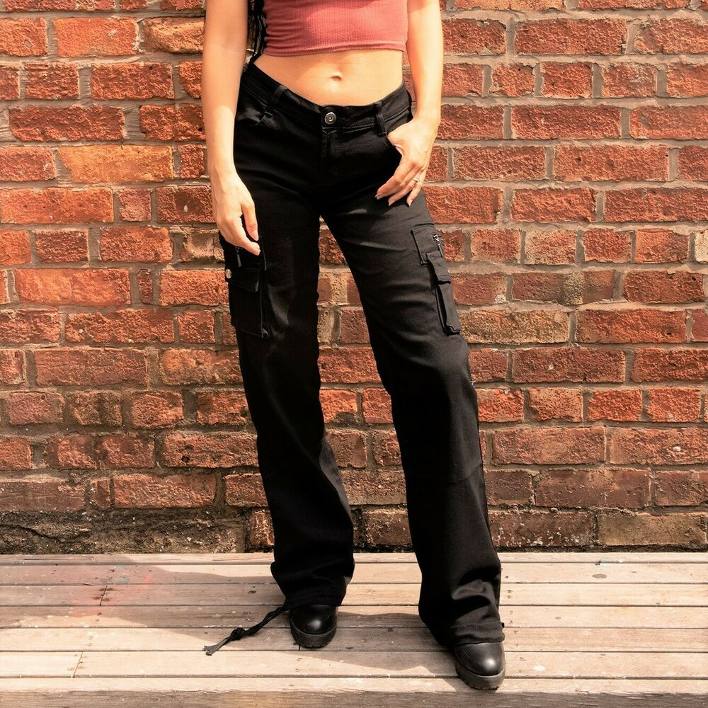 New Womens Ladies Black Wide Loose Combat Trousers Cargo ... - photo#28