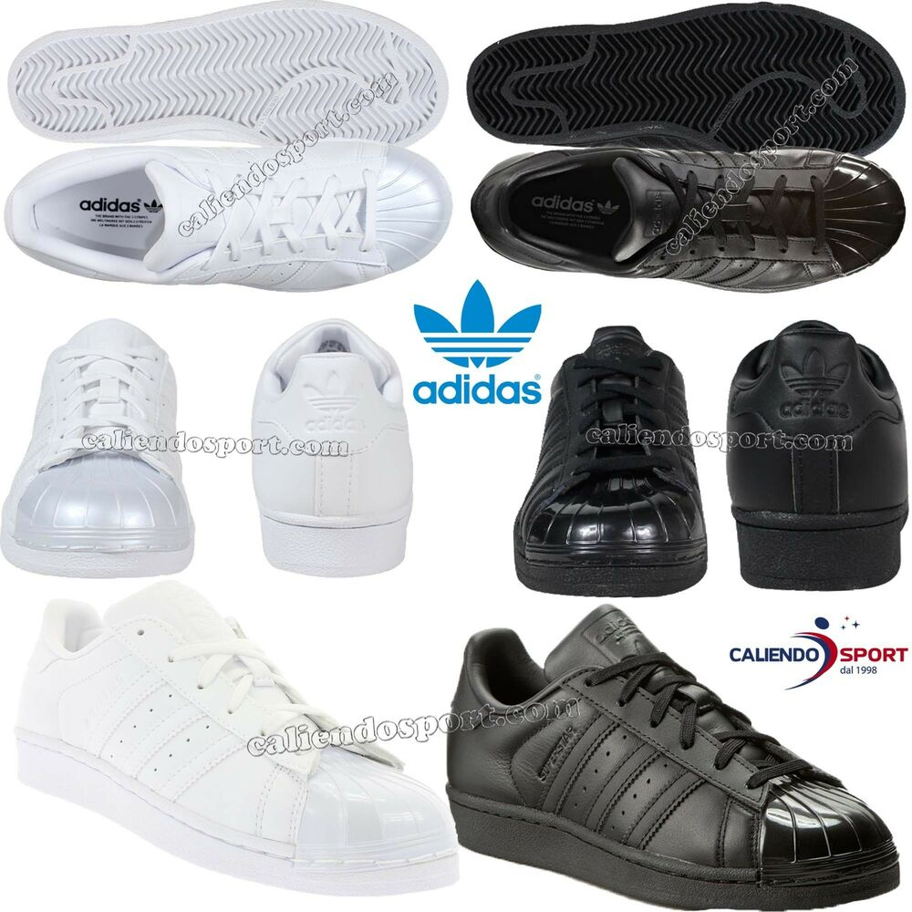 9c0452094d2f7 SCARPA DONNA BB0683 BB0684 ADIDAS ORIGINALS SUPERSTAR GLOSSY TOE NERO  BIANCO