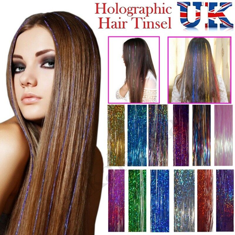 Woman Long Hair Tinsel Sparkle Holographic Glitter Extensions
