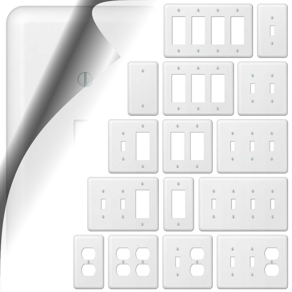 White Switch Cover Plate Devon Wallplate Rocker Outlet Toggle Duplex ...