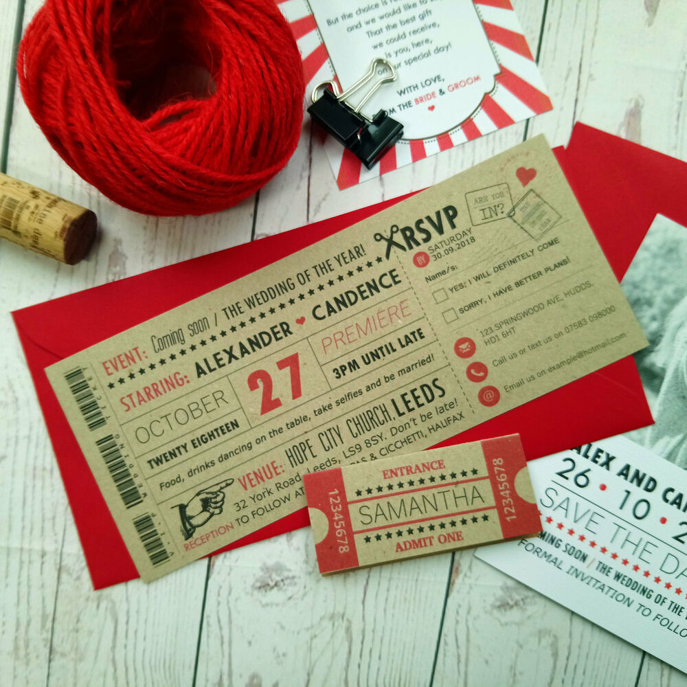 Movie Craft Ticket Wedding Invitation Vintage Retro Cinema Style ...