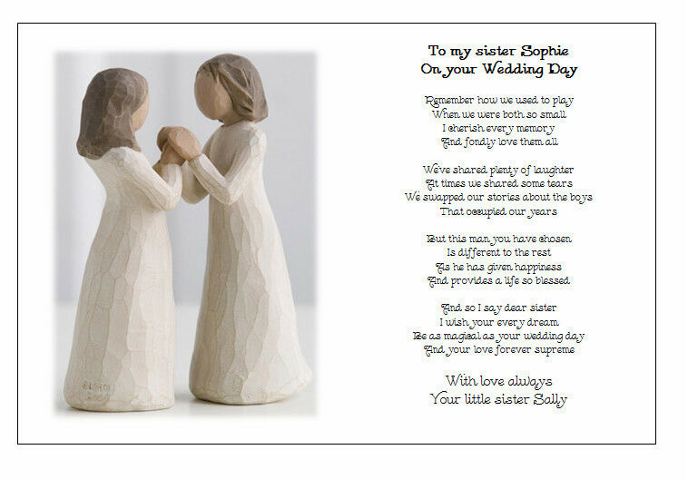 Personalised Wedding Day Poem Gift To My Sister On Your Marriage Ebay