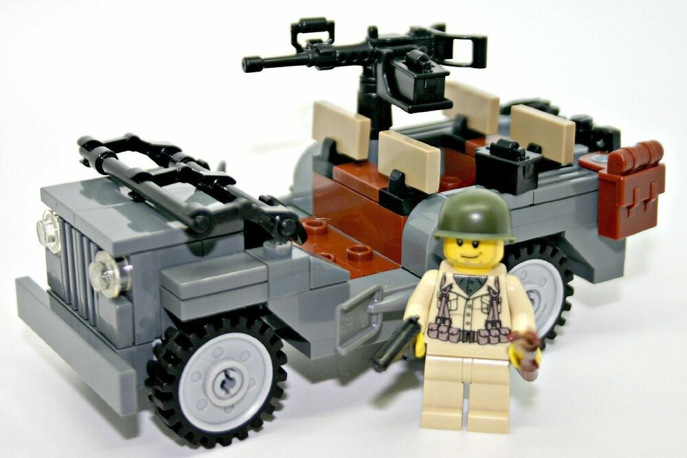 World war 2 american willy 39 s jeep ww2 w minifigure made for Siege lego france