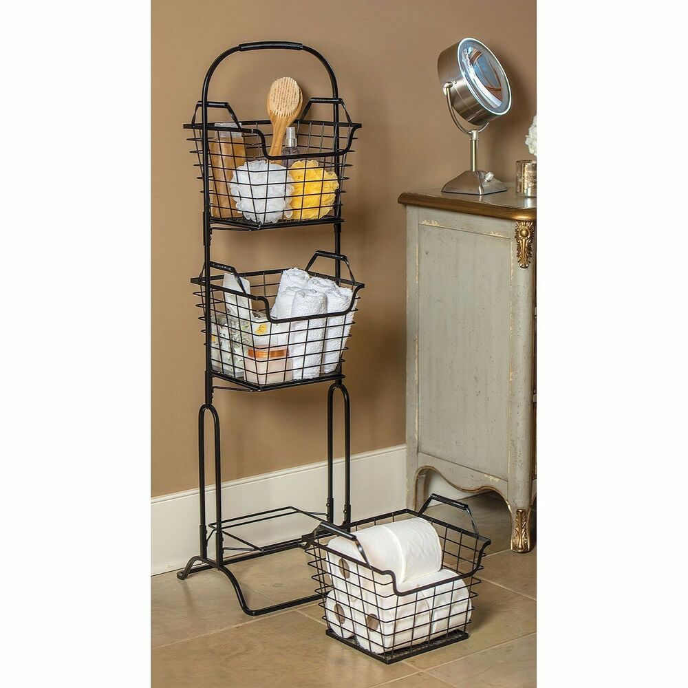 Three Tier Bathroom Stand: 3 Tier Storage Basket Floor Stand Fruit Bathroom Kitchen