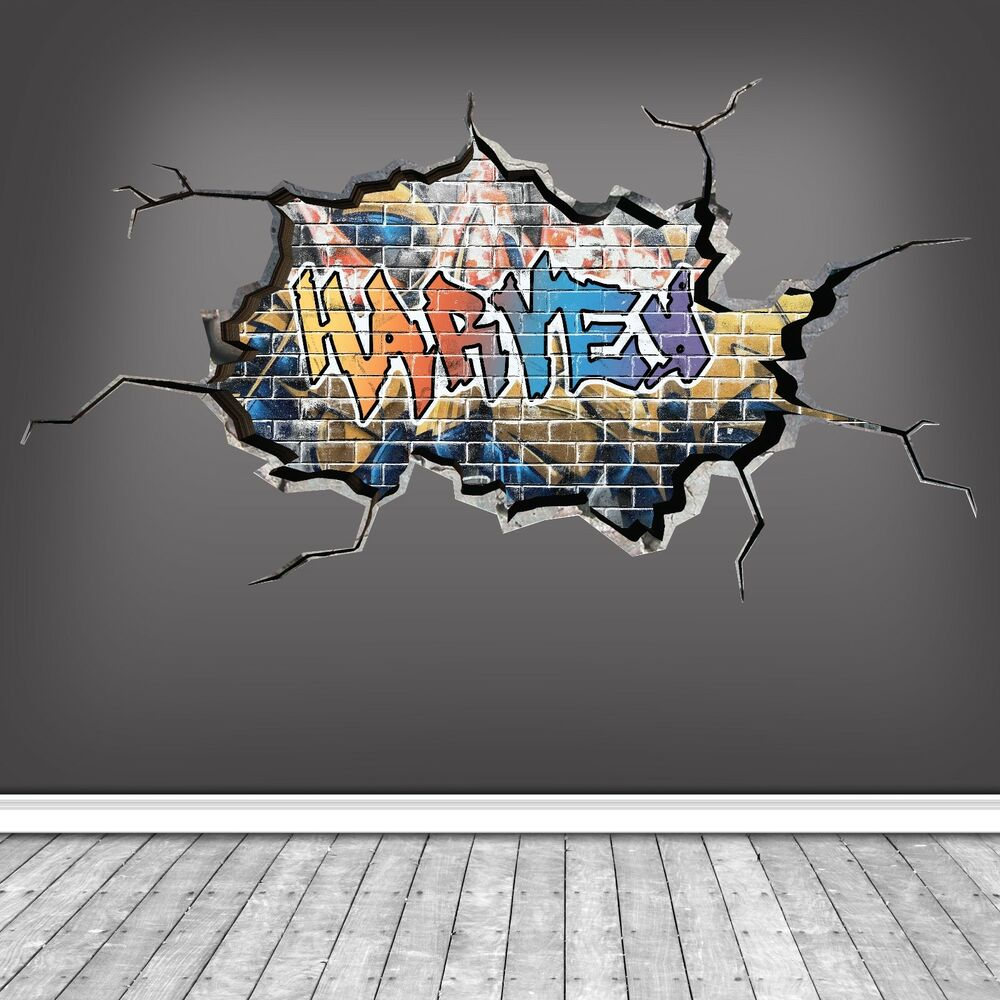 Details about 3d personalised custom graffiti cracked wall art sticker decal mural wsdpgn113