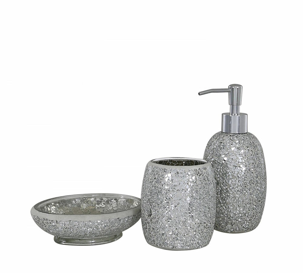 Silver Sparkle Glass Mosaic Bathroom Set Soap Dispenser Dish Toothbrush Ebay