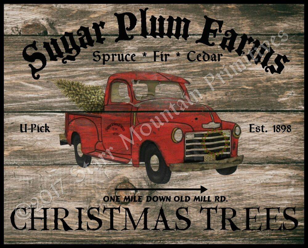Primitive Old Red Truck Christmas Tree Farm Wood Sign