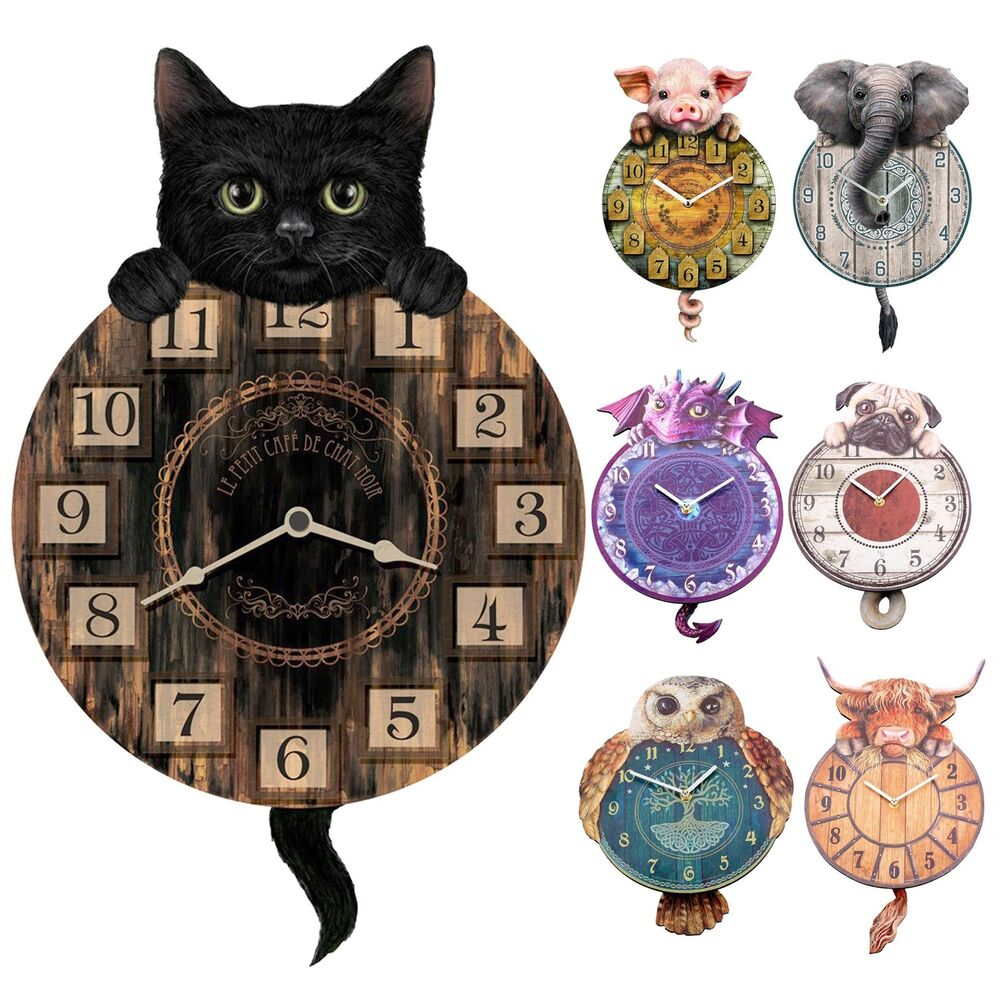Tickin Animal Shaped Picture Wall Clock Swinging Tail