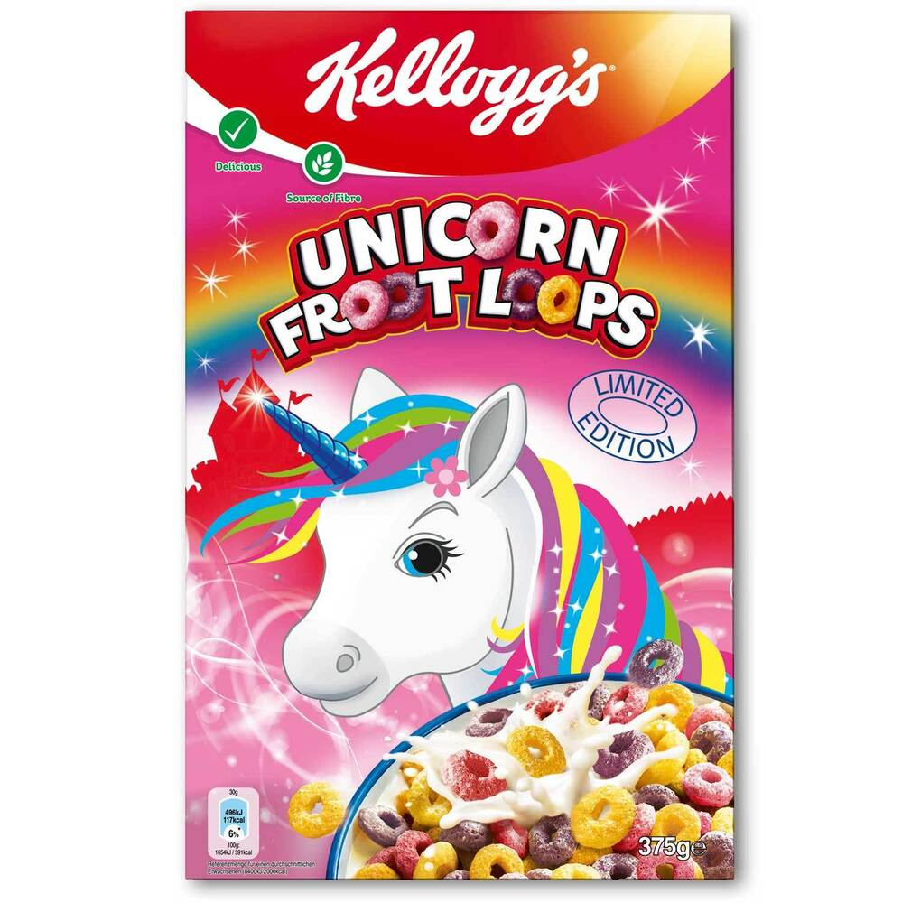 Kellogg's UNICORN Fruit Loops Breakfast Cereal- MADE IN