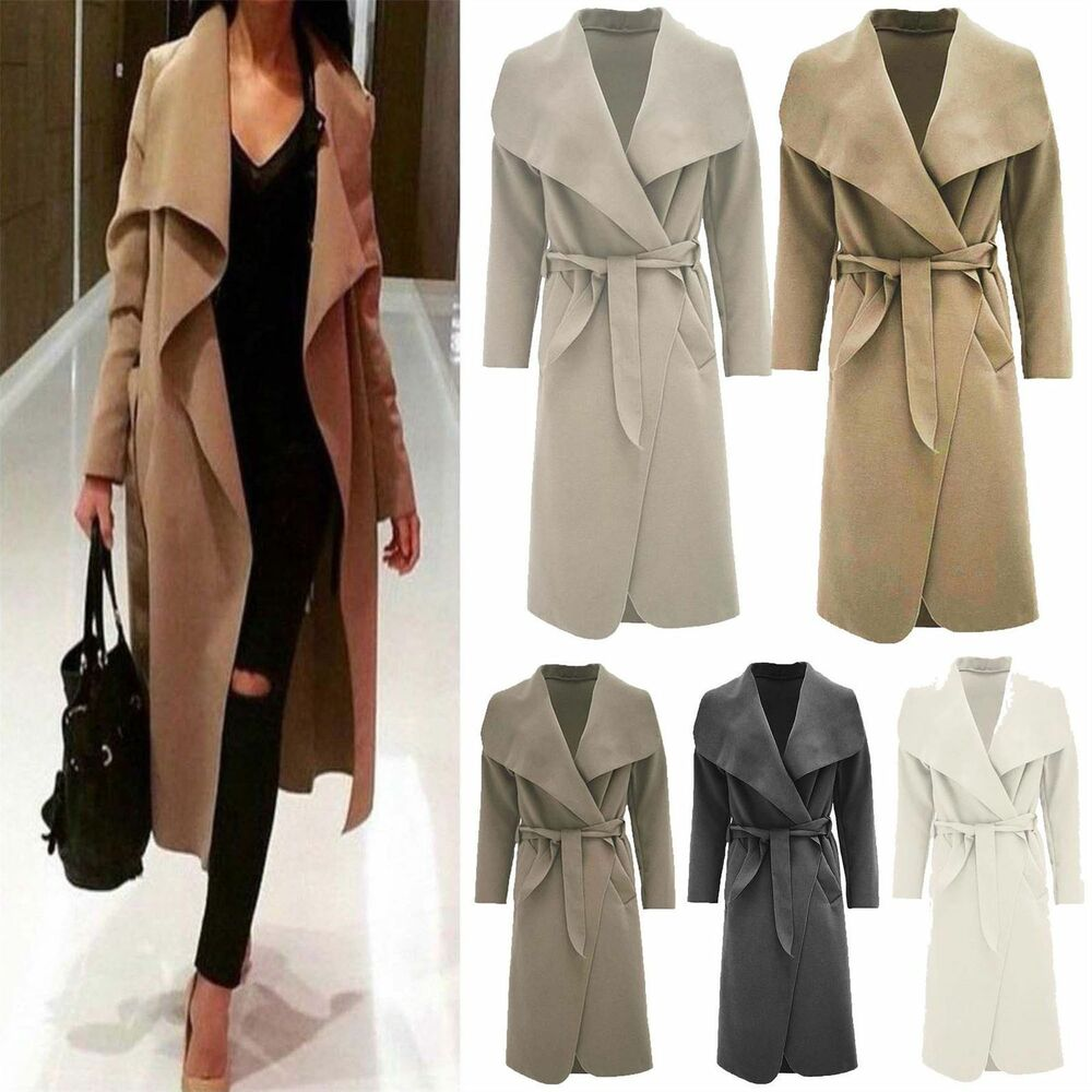 Womens Waterfall Belted Italian Drape Long Trench Coat