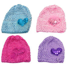 lla Toddler's Stretchy Knitted Bonnet Hat with Sweetheart Aplique U16250-6411