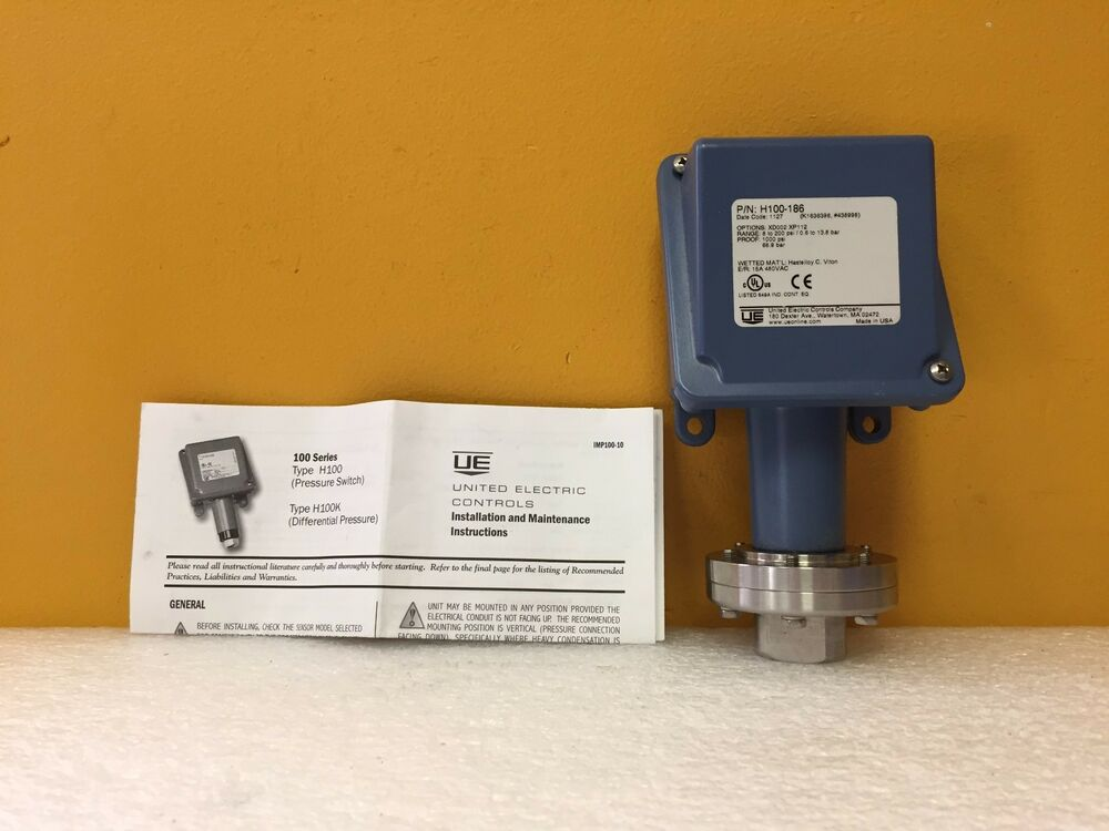 United Electric H100-386 + OPT XD002 / XP112, 8 to 200 psi, Pressure on