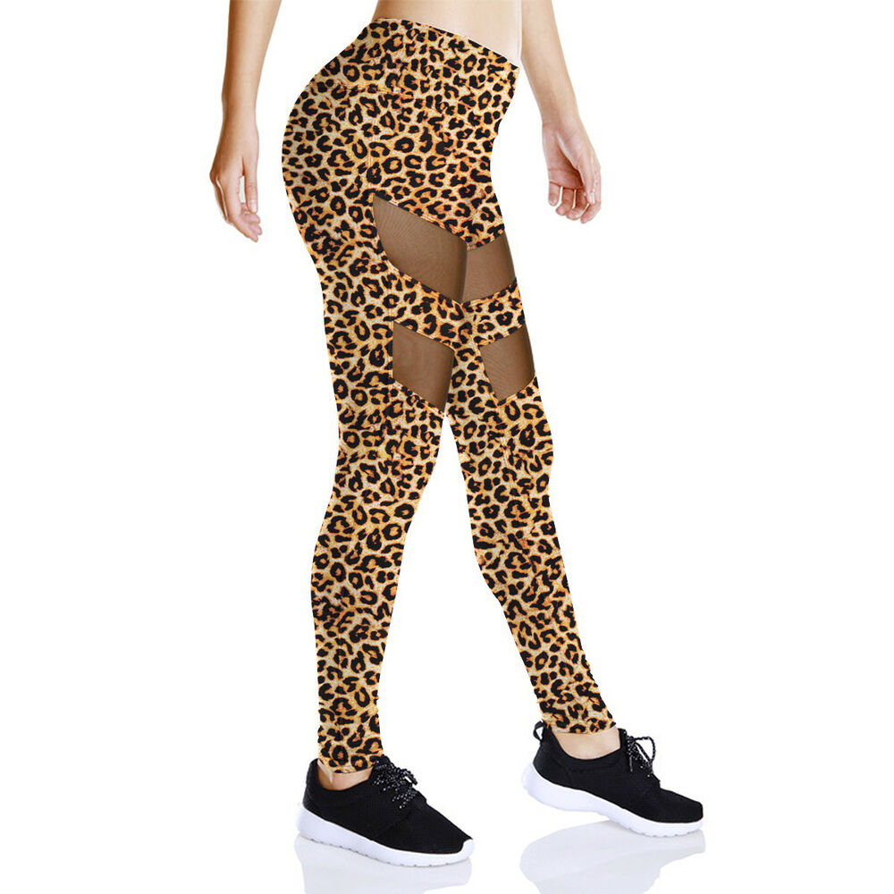 4a8436b05e86 Details about NEW Sexy Leopard Print Stretchy Leggings Sports Running Pants  Mesh YOGA Leggings