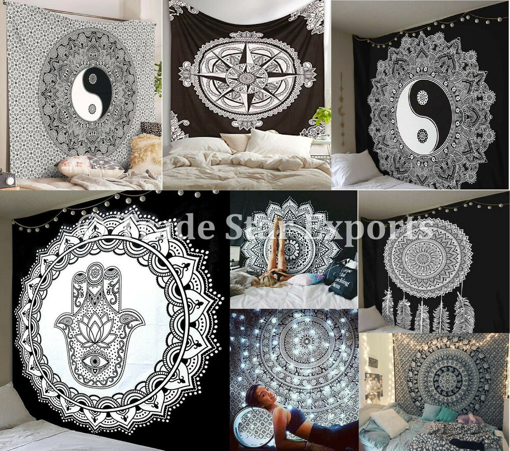 Indian Mandala Wall Hanging Black And White Hippie Tapestry Bohemian