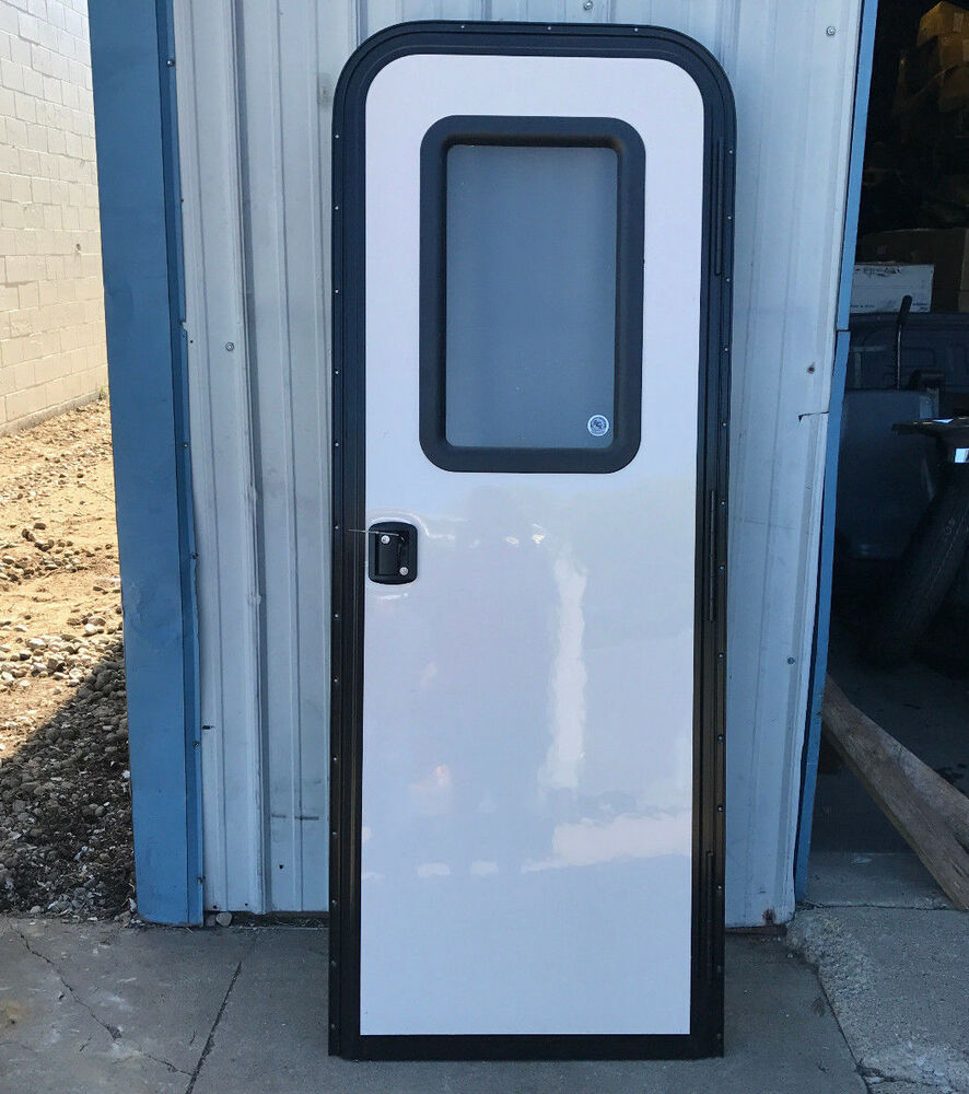 Trailer Access Door : Rv camper entry front access door key lock white