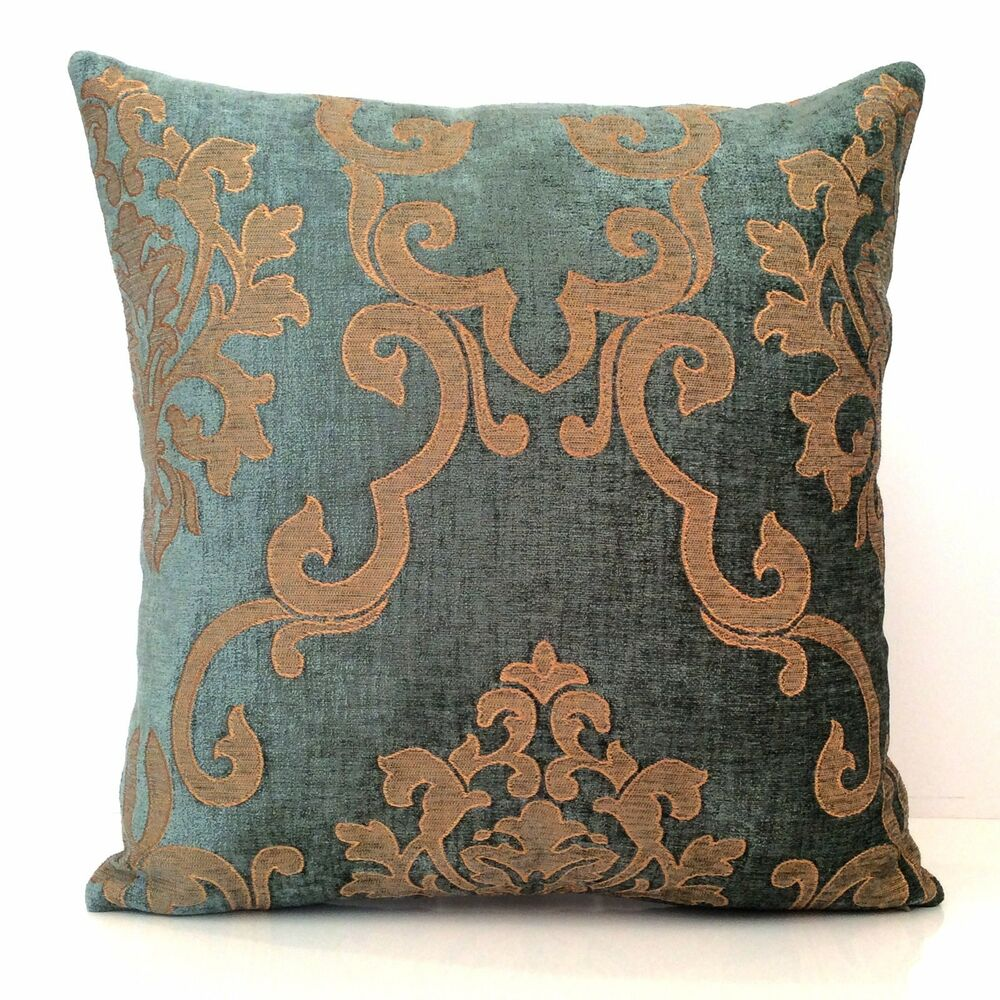 Details about Teal and Goldish Tan Throw Pillow Cover a6f8509d5b8a