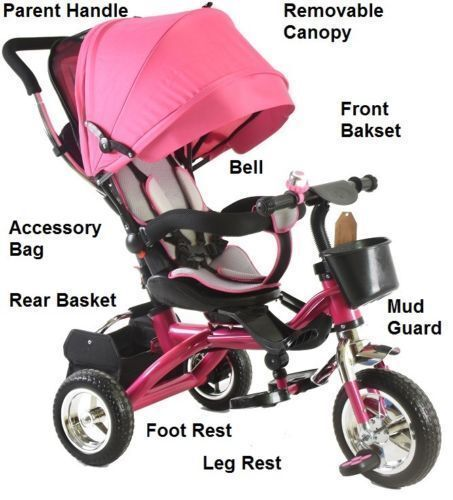 4 In1 Kids Children Baby Trike Tricycle Stroller Buggy 3