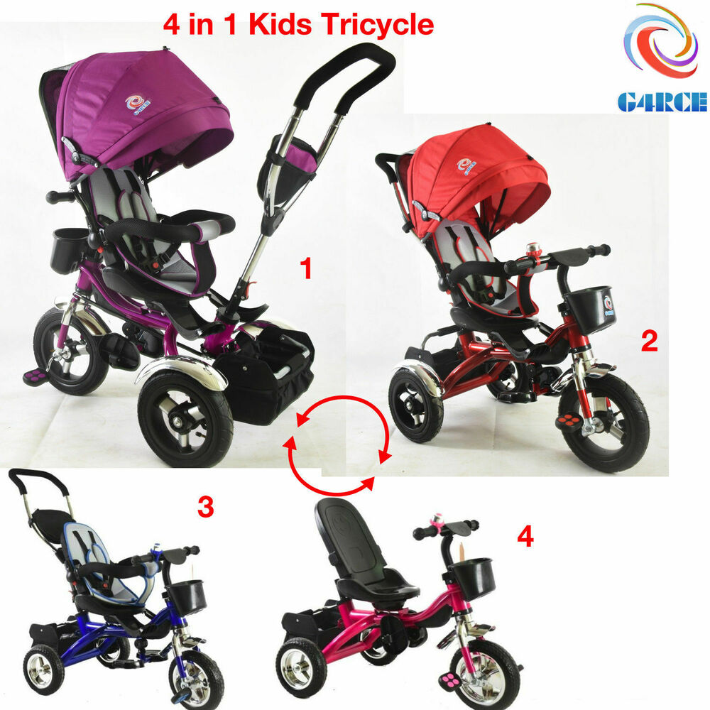 4 In1 Baby Trike Tricycle Stroller Buggy Wheel Ride Push