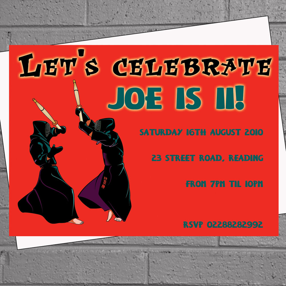 Details About Personalised Boys Kids Birthday Party Invites Karate Martial Arts X12 H1170