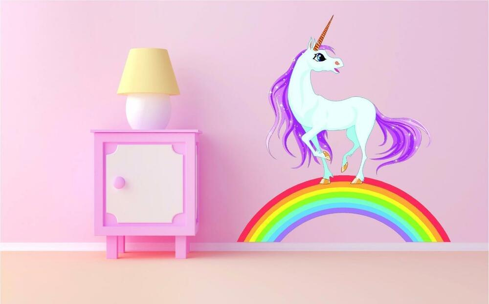 Details about Unicorn Rainbow Princess Kids Sticker Full Colour Print Decal  Transfer Mural P1V 2bd1baadd