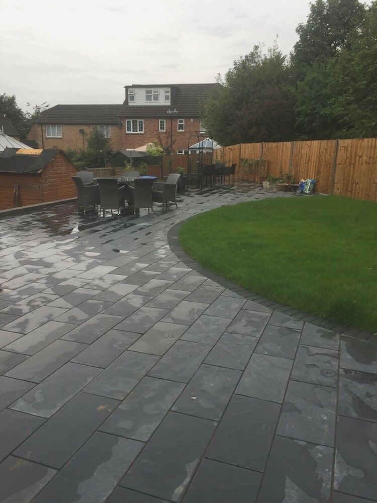black slate paving patio slabs garden 60cmx30cm 20mm thick. Black Bedroom Furniture Sets. Home Design Ideas