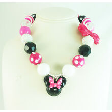 Baby Girl's Chunky Bubblegum Hot Pink Minnie Mouse Necklace, USA instock